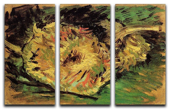 Two Cut Sunflowers by Van Gogh 3 Split Panel Canvas Print