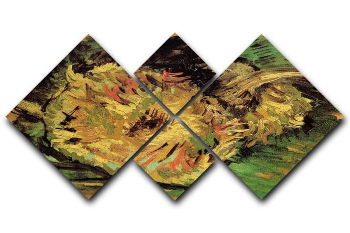 Two Cut Sunflowers by Van Gogh 4 Square Multi Panel Canvas