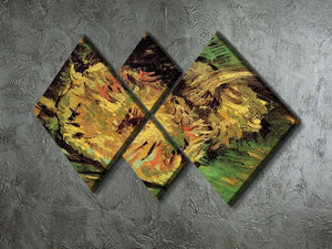 Two Cut Sunflowers by Van Gogh 4 Square Multi Panel Canvas - Canvas Art Rocks - 2