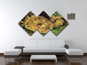 Two Cut Sunflowers by Van Gogh 4 Square Multi Panel Canvas - Canvas Art Rocks - 3