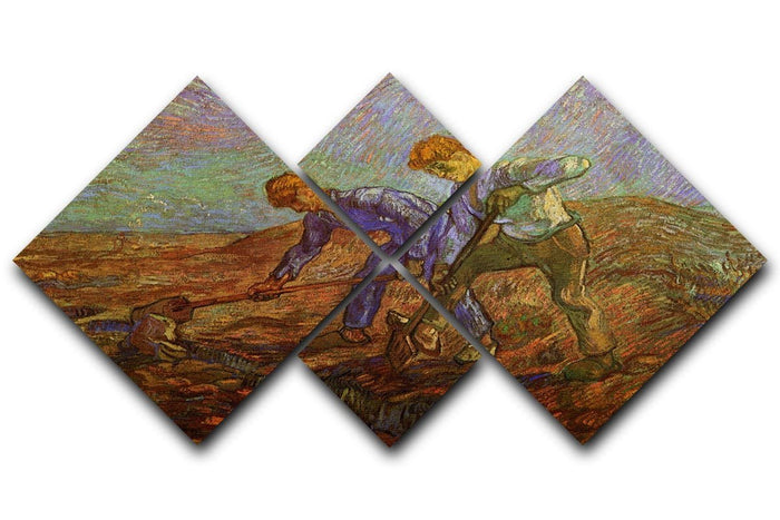 Two Peasants Digging by Van Gogh 4 Square Multi Panel Canvas