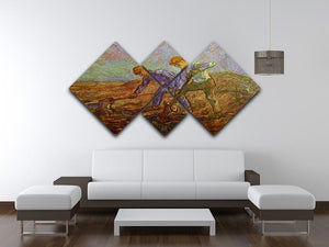 Two Peasants Digging by Van Gogh 4 Square Multi Panel Canvas - Canvas Art Rocks - 3
