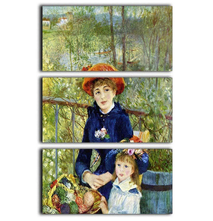 Two Sisters On The Terrace by Renoir 3 Split Panel Canvas Print