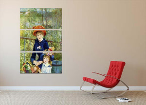 Two Sisters On The Terrace by Renoir 3 Split Panel Canvas Print - Canvas Art Rocks - 2