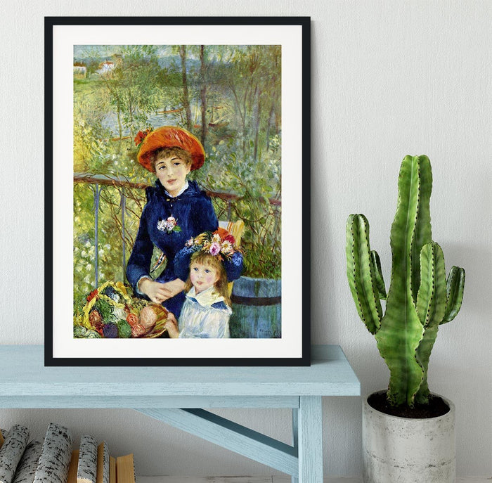 Two Sisters On The Terrace by Renoir Framed Print