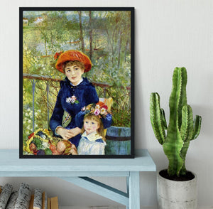 Two Sisters On The Terrace by Renoir Framed Print - Canvas Art Rocks - 2