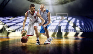 Two basketball players action Wall Mural Wallpaper - Canvas Art Rocks - 1