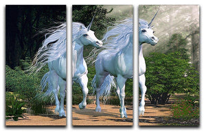 Two buck unicorns run together 3 Split Panel Canvas Print - Canvas Art Rocks - 1