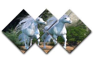 Two buck unicorns run together 4 Square Multi Panel Canvas  - Canvas Art Rocks - 1