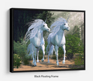 Two buck unicorns run together Floating Frame Canvas