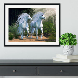 Two buck unicorns run together Framed Print - Canvas Art Rocks - 1