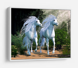 Two buck unicorns run together HD Metal Print