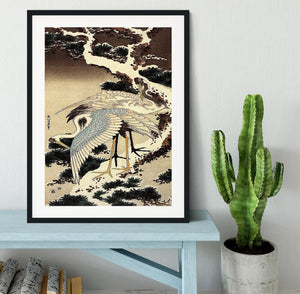 Two cranes on a pine covered with snow by Hokusai Framed Print - Canvas Art Rocks - 1