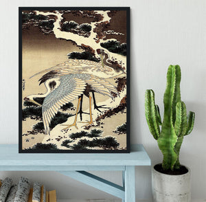 Two cranes on a pine covered with snow by Hokusai Framed Print - Canvas Art Rocks - 2