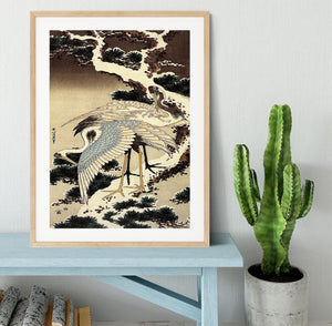 Two cranes on a pine covered with snow by Hokusai Framed Print - Canvas Art Rocks - 3