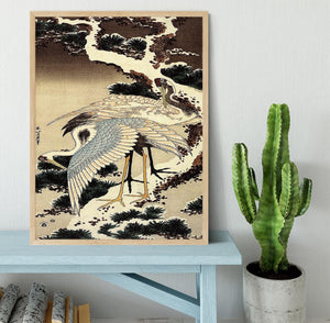 Two cranes on a pine covered with snow by Hokusai Framed Print - Canvas Art Rocks - 4