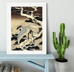 Two cranes on a pine covered with snow by Hokusai Framed Print - Canvas Art Rocks - 5