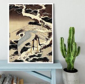 Two cranes on a pine covered with snow by Hokusai Framed Print - Canvas Art Rocks -6