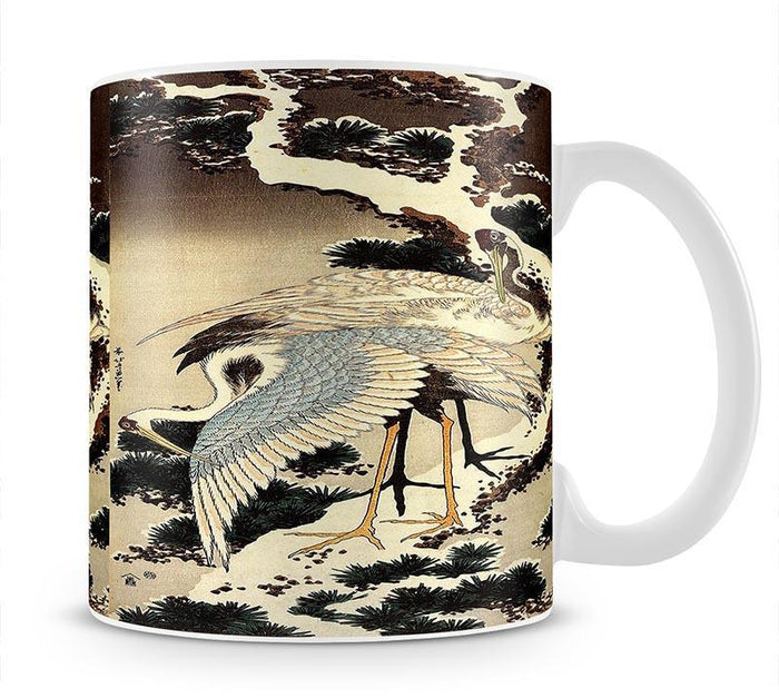 Two cranes on a pine covered with snow by Hokusai Mug