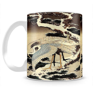 Two cranes on a pine covered with snow by Hokusai Mug - Canvas Art Rocks - 2