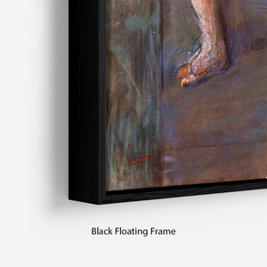 Two dancers behind the scenes by Degas Floating Frame Canvas - Canvas Art Rocks - 2