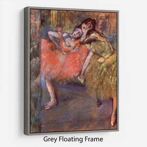 Two dancers behind the scenes by Degas Floating Frame Canvas - Canvas Art Rocks - 3