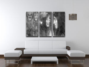 Two girls heads in profile and masks Thalia and Melpomene by Klimt 3 Split Panel Canvas Print - Canvas Art Rocks - 3