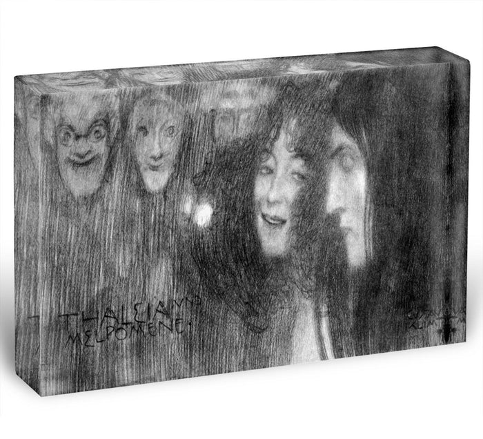 Two girls heads in profile and masks Thalia and Melpomene by Klimt Acrylic Block