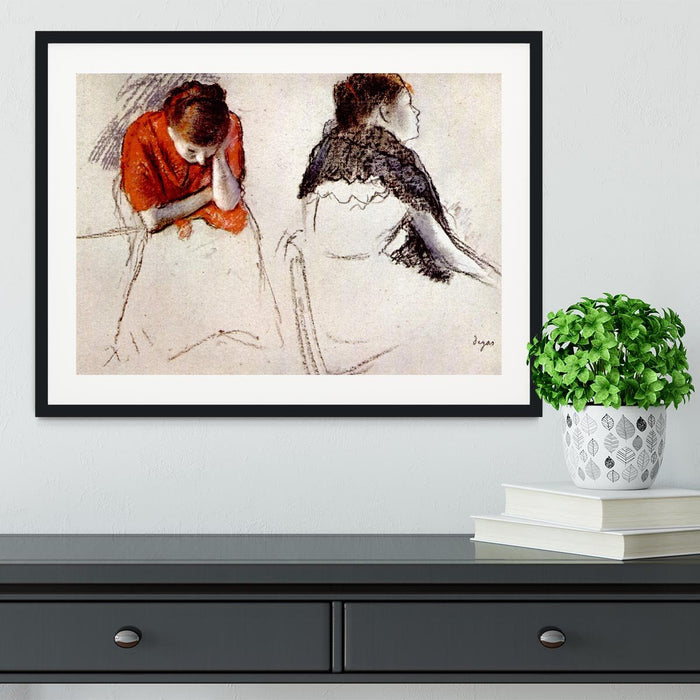 Two women seated by Degas Framed Print