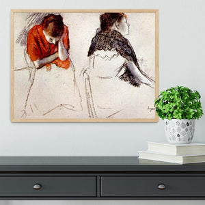 Two women seated by Degas Framed Print - Canvas Art Rocks - 4