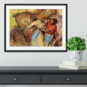 Two women washing horses by Degas Framed Print - Canvas Art Rocks - 1