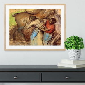 Two women washing horses by Degas Framed Print - Canvas Art Rocks - 3