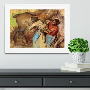 Two women washing horses by Degas Framed Print - Canvas Art Rocks - 5