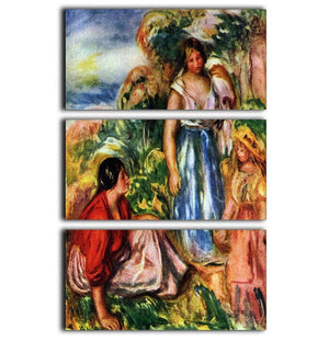 Two women with young girls in a landscape by Renoir 3 Split Panel Canvas Print - Canvas Art Rocks - 1