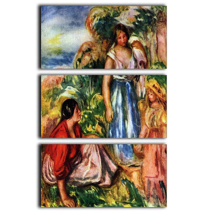 Two women with young girls in a landscape by Renoir 3 Split Panel Canvas Print