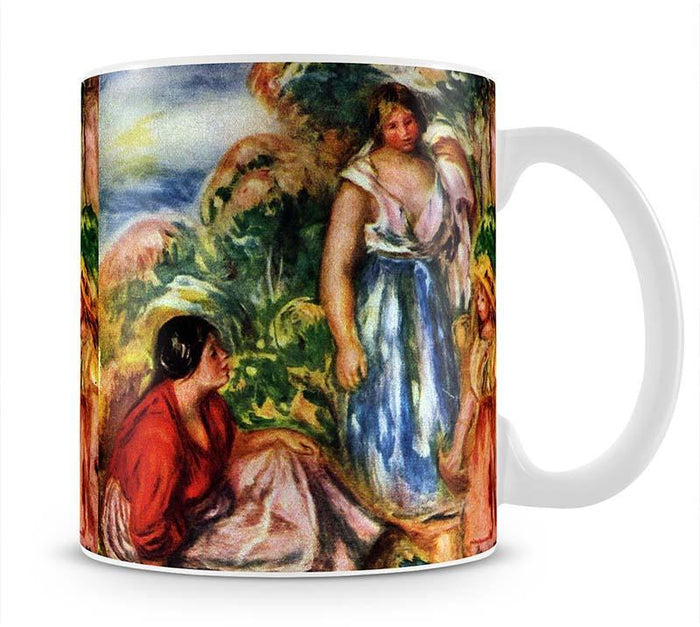 Two women with young girls in a landscape by Renoir Mug