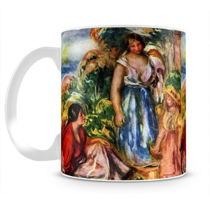 Two women with young girls in a landscape by Renoir Mug - Canvas Art Rocks - 2