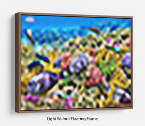 Underwater world with corals and tropical fish Floating Frame Canvas