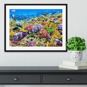 Underwater world with corals and tropical fish Framed Print - Canvas Art Rocks - 1