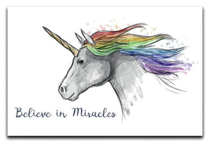 Unicorn Believe in Miracles Canvas Print or Poster