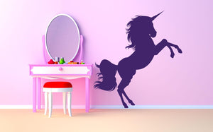 Unicorn Jumping Wall Sticker - Canvas Art Rocks - 1