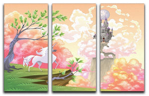 Unicorn and mythological landscape 3 Split Panel Canvas Print - Canvas Art Rocks - 1