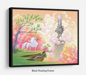 Unicorn and mythological landscape Floating Frame Canvas