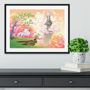 Unicorn and mythological landscape Framed Print - Canvas Art Rocks - 1