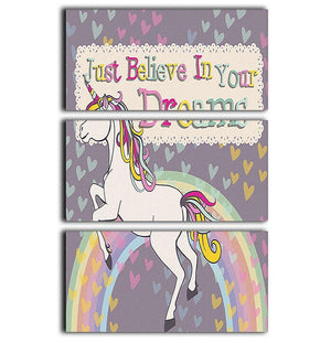 Unicorn believe in your dreams 3 Split Panel Canvas Print - Canvas Art Rocks - 1