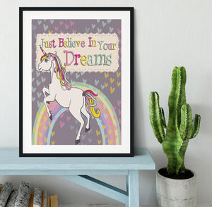 Unicorn believe in your dreams Framed Print - Canvas Art Rocks - 1