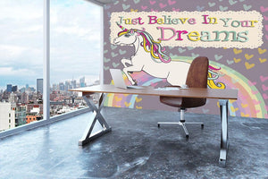 Unicorn believe in your dreams Wall Mural Wallpaper - Canvas Art Rocks - 3