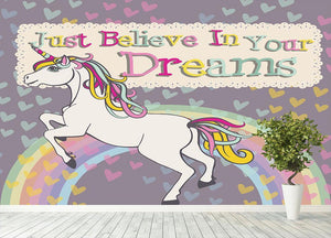 Unicorn believe in your dreams Wall Mural Wallpaper - Canvas Art Rocks - 4