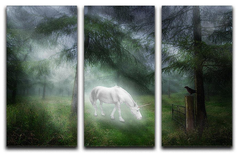 Unicorn in a magical forest 3 Split Panel Canvas Print - Canvas Art Rocks - 1