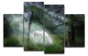 Unicorn in a magical forest 4 Split Panel Canvas  - Canvas Art Rocks - 1